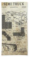 1961 Semi Truck Patent Beach Towel