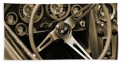 1963 Chevrolet Corvette Steering Wheel - Sepia Beach Towel by Gordon Dean II