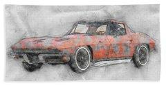 1963 Chevrolet Corvette Sting Ray 1 - 1963 - Automotive Art - Car Posters Beach Towel