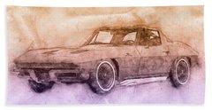 1963 Chevrolet Corvette Sting Ray 2 - 1963 - Automotive Art - Car Posters Beach Towel