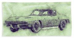 1963 Chevrolet Corvette Sting Ray 3 - 1963 - Automotive Art - Car Posters Beach Towel