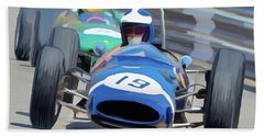 1963 Cooper T66 Coming Out Of Monaco's Mirabeau Beach Towel by Wally Hampton