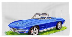 Beach Towel featuring the painting 1964 Corvette Stingray by Jack Pumphrey
