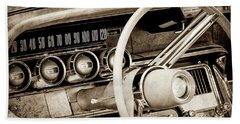 Beach Towel featuring the photograph 1964 Ford Thunderbird Steering Wheel -0280s by Jill Reger