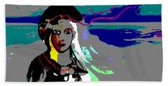 Beach Sheet featuring the digital art 1964 - Walk On The Seaside by Irmgard Schoendorf Welch