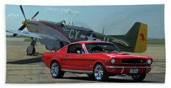 1965 Mustang Fastback And P51 Mustang Beach Towel