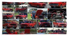 1965 Mustang Fastback Collage Beach Sheet