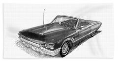 1965 Thunderbird Convertible By Ford Beach Sheet by Jack Pumphrey