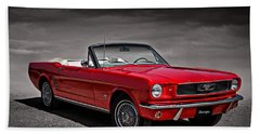 1966 Ford Mustang Convertible Beach Towel by Douglas Pittman