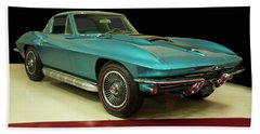 Beach Towel featuring the digital art 1967 Chevrolet Corvette 2 by Chris Flees