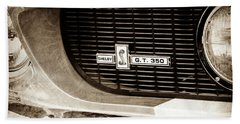 Beach Towel featuring the photograph 1967 Ford Gt 350 Shelby Clone Grille Emblem -0759s by Jill Reger