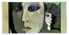 Beach Towel featuring the digital art 1968 - A Dolls Head by Irmgard Schoendorf Welch