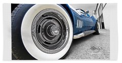 1968 Corvette White Wall Tires Beach Towel