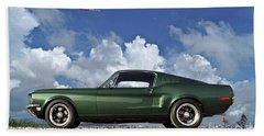 1968 Ford Bullitt Mustang Gt 390 Fastback, P-51 Mustang, Plymouth Rock Chicken Beach Towel