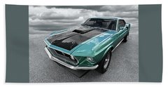 1969 Green 428 Mach 1 Cobra Jet Ford Mustang Beach Towel