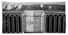 1970 Oldsmobile 442 Convertible Emblem -0989bw Beach Towel