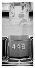 1970 Oldsmobile 442 Hood Emblem -472bw Beach Towel