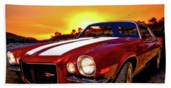 1971 Z28 Camaro Hdr Vivid Remembrance Beach Towel