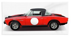 1972 Fiat 124 Spider Abarth Illustration Beach Sheet