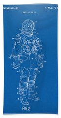 1973 Astronaut Space Suit Patent Artwork - Blueprint Beach Towel by Nikki Marie Smith