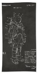 1973 Space Suit Patent Inventors Artwork - Gray Beach Towel
