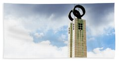 1974 Revolution Memorial Wrapped In Clouds Beach Towel