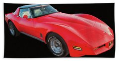 1977 Chevy Corvette T Tops Digital Oil Beach Towel