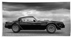 1978 Trans Am In Black And White Beach Towel