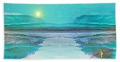 Beach Sheet featuring the digital art 1983 - Blue Waterland -  2017 by Irmgard Schoendorf Welch