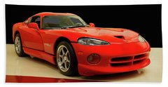 Beach Towel featuring the digital art 1997 Dodge Viper Gts Red by Chris Flees
