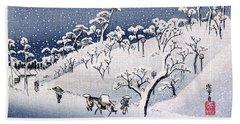 19th C. Snow On Asuka Hill Beach Towel