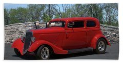 1934 Ford Sedan Hot Rod Beach Towel