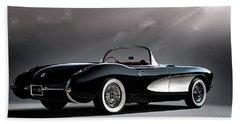 '56 Corvette Convertible Beach Towel
