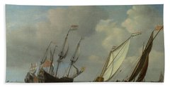 A Dutch Ship, A Yacht And Smaller Vessels In A Breeze Beach Towel