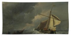 A Dutch Vessel In A Strong Breeze Beach Towel