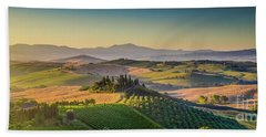 A Golden Morning In Tuscany Beach Sheet by JR Photography