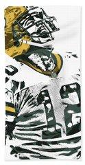 Aaron Rodgers Green Bay Packers Pixel Art 4 Beach Towel by Joe Hamilton