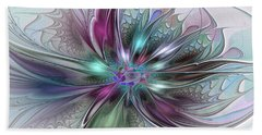 Colorful Fantasy Abstract Modern Fractal Flower Beach Towel