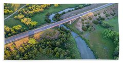 aerial view of Dismal River in Nebraska Beach Towel