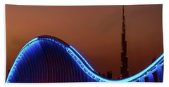 Amazing Night Dubai Vip Bridge With Beautiful Sunset. Private Ro Beach Towel