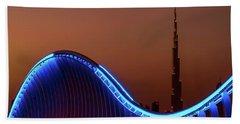 Amazing Night Dubai Vip Bridge With Beautiful Sunset. Private Ro Beach Sheet