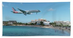 American Airlines Landing At St. Maarten Beach Towel by David Gleeson
