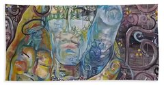 Beach Towel featuring the painting 2 Angels Hugging Environmental Warrior Goddess by Carol Rashawnna Williams