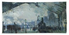 Arrival Of The Normandy Train Gare Saint-lazare Beach Sheet by Claude Monet