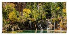Autumn At Hanging Lake Waterfall - Glenwood Canyon Colorado Beach Sheet by Brian Harig