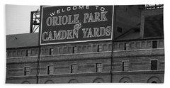 Baltimore Orioles Park At Camden Yards Bw Beach Towel