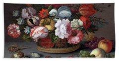 Basket Of Flowers Beach Sheet