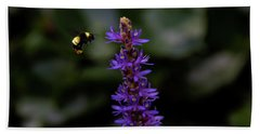 Beach Towel featuring the photograph Bee by Jay Stockhaus