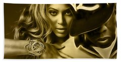 Beyonce Jay Z Collection Beach Sheet by Marvin Blaine