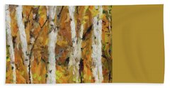 Birch Trees In Autumn Beach Sheet by Dragica Micki Fortuna